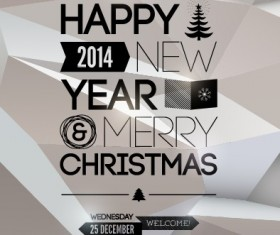 2014 Merry Christmas Poster design elements vector 05