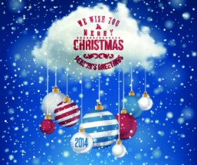 2014 Merry Christmas decor ball vector background 02