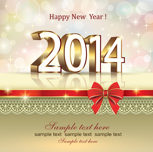 2014 new year bow greeting cards vector free download 2014 new year bow greeting cards vector m4hsunfo