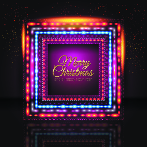 2014 New Year Christmas Colored light frame vector 03 free download