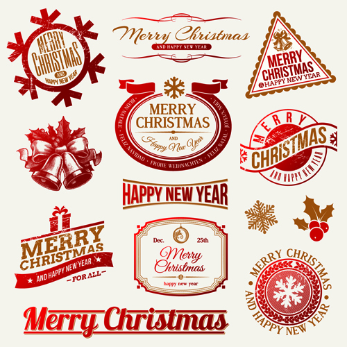 2014 new year and christmas labels with decor vector 01