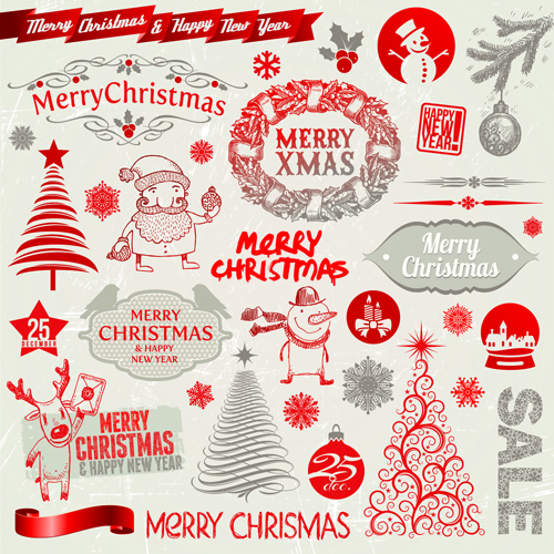 2014 new year and christmas labels with decor vector 02