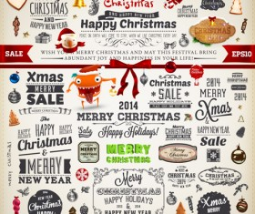 2014 New Year and Christmas labels with decor vector 03