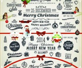 2014 New Year and Christmas labels with decor vector 04