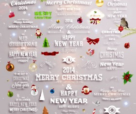 2014 New Year and Christmas labels with decor vector 05