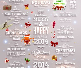 2014 New Year and Christmas labels with decor vector 06