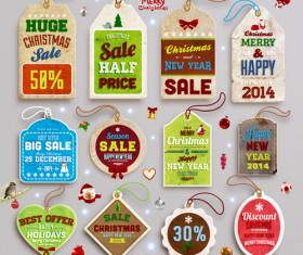 2014 New Year and Christmas labels with decor vector 07
