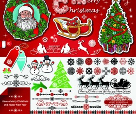 2014 New Year and Christmas labels with decor vector 08