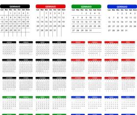 Italian Version Calendar 2014 vector set 01