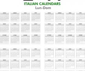 Italian Version Calendar 2014 vector set 02