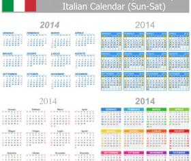 Italian Version Calendar 2014 vector set 03