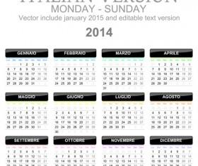 Italian Version Calendar 2014 vector set 04