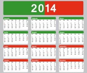 Italian Version Calendar 2014 vector set 05