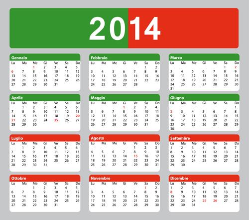 Italian Version Calendar 2014 vector set 05 - Vector ...