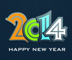 2014 New Year Text design background vector 02