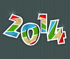2014 New Year Text design background vector 05