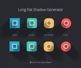 Colored Long Flat Shadow icons