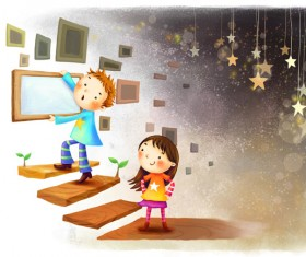 Cartoon Children psd background