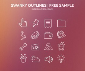 swanky outlines icons psd