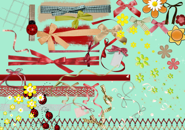 Ribbon with bow psd graphics