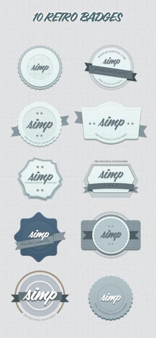 10 Kind Retor Badges psd material