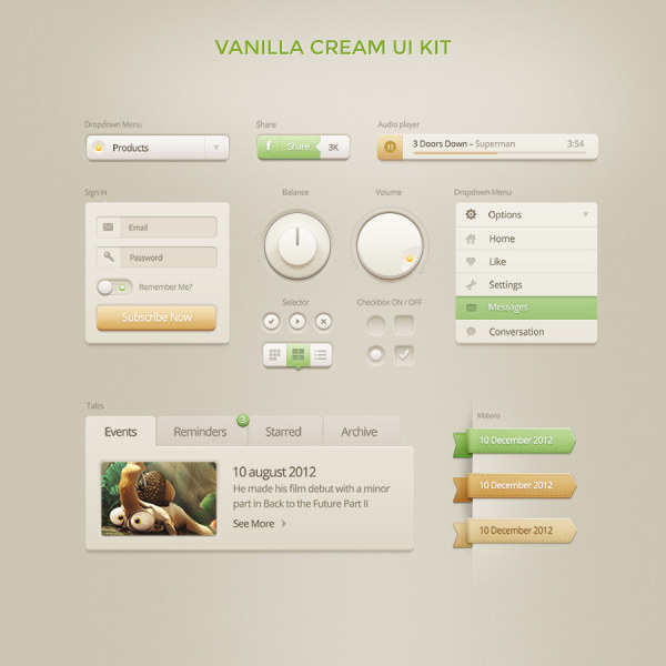 Vanilla Cream Style UI kit