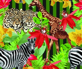 Wild Animals seamless pattern vector 05