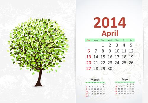 April 2014 Calendar vector