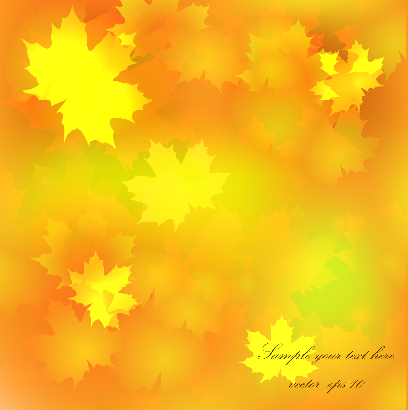Autumn Golden Yellow Background Vector 07 Vector