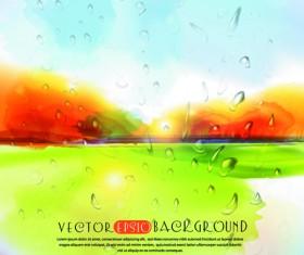 Autumn watercolor vector background 01