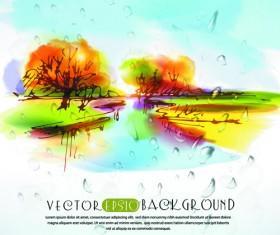 Autumn watercolor vector background 02