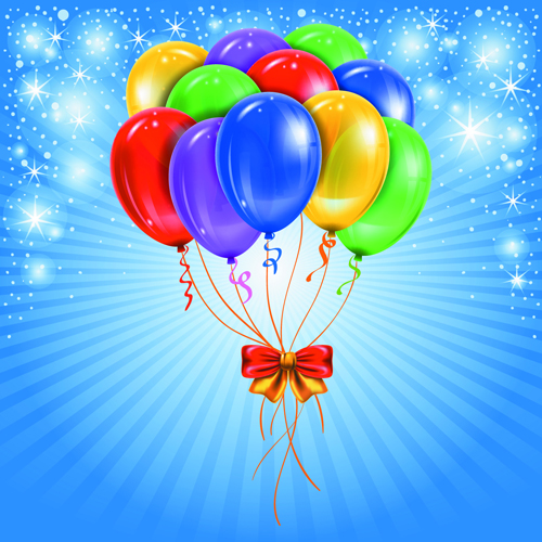 Happy Birthday Colorful Balloons Background Set 01