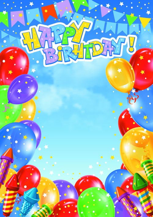 Happy Birthday Colorful Balloons background set 05 - Vector Background ...