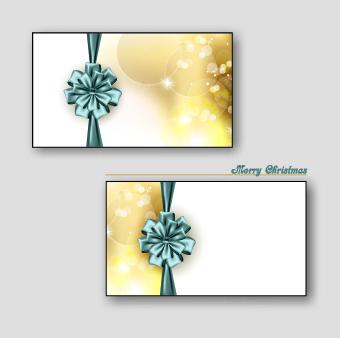 Beautiful ribbon bow christmas cards vector 02