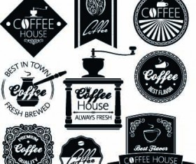 Black and white coffee labels vector
