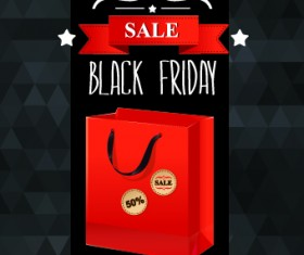 Set of black friday sale elements vector 01