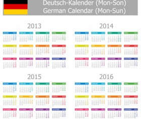 German Version Calendar 2014 vector set 04