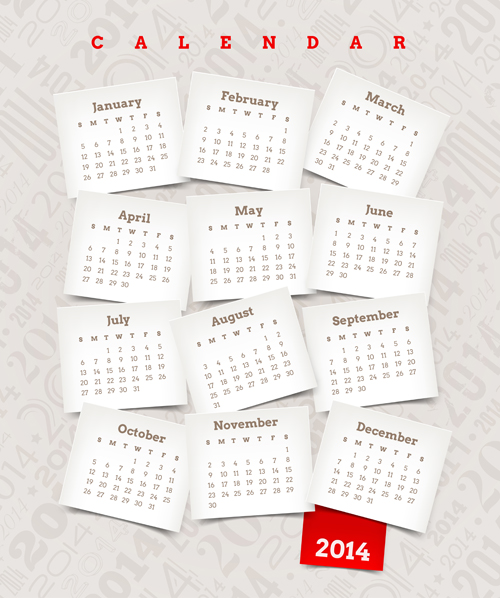 Best calendars 2014 design elements vector 03