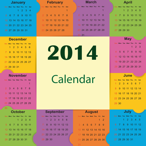 Best Calendars 2014 design elements vector 05