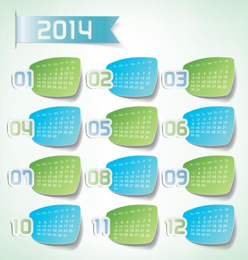 Best calendars 2014 design elements vector 06