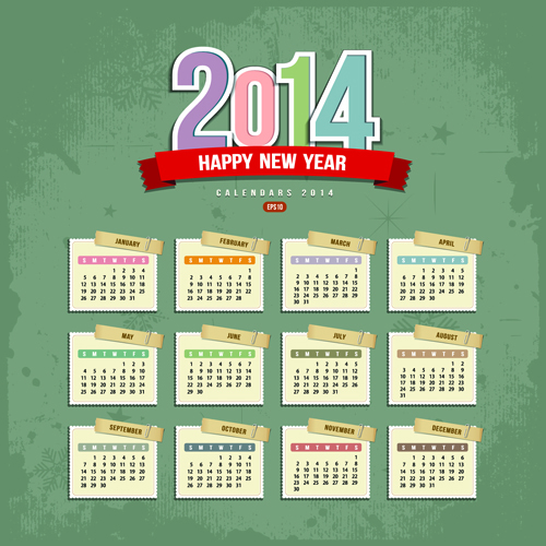 Set of Calendars 2014 Creative design vector 03