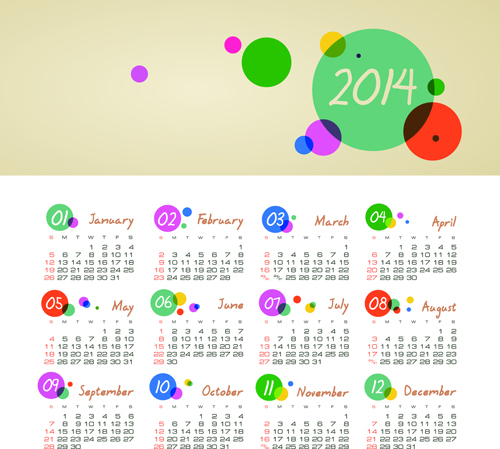 Set of Calendars 2014 Creative design vector 07