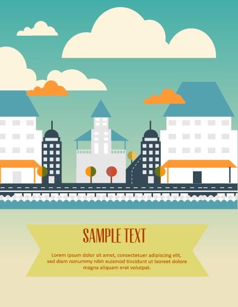 Cartoon city scenery vector 05