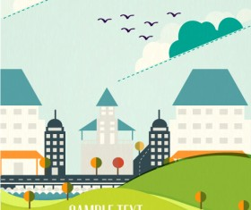 Cartoon city scenery vector 06