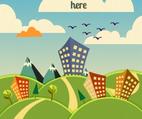 Cartoon city scenery vector 15