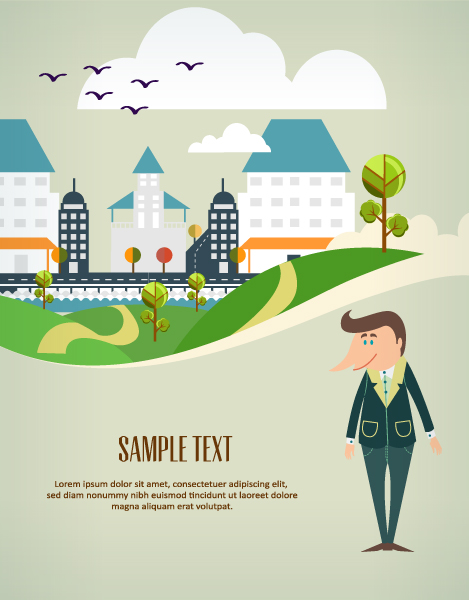 Cartoon city scenery vector 18