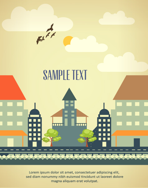 Cartoon city scenery vector 19