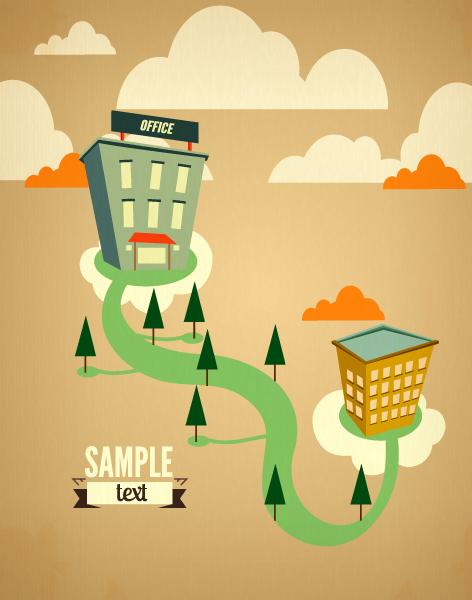 Cartoon city scenery vector 28