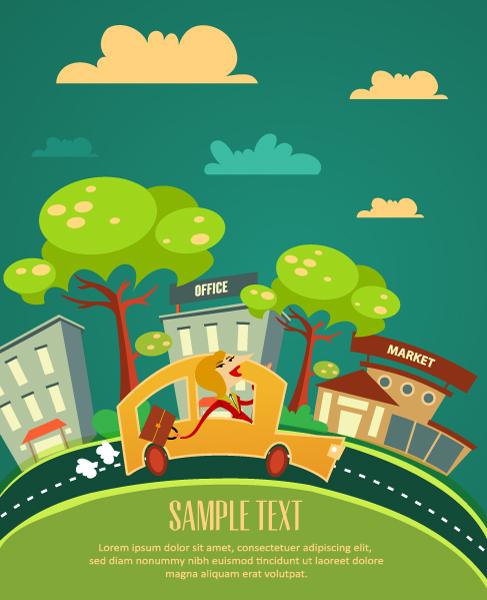 Cartoon city scenery vector 31