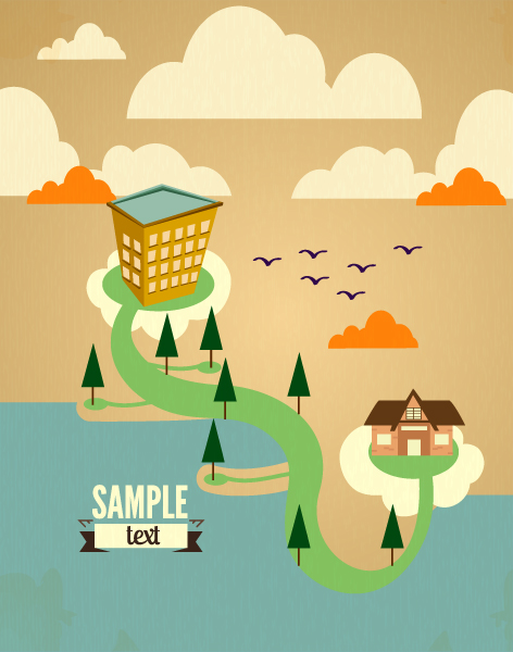 Cartoon city scenery vector 33